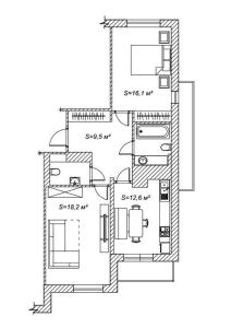 The floor plan of Max apartment at Varshavskaya 6