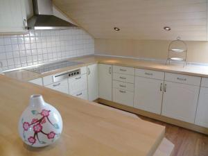 A kitchen or kitchenette at Serene apartment in Weeze with private garden