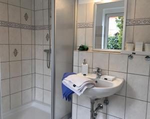 Ein Badezimmer in der Unterkunft Ferienwohnung in Domnähe