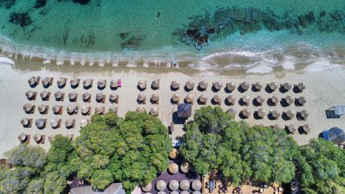 A bird's-eye view of Porto Koundouros Beach and Villas