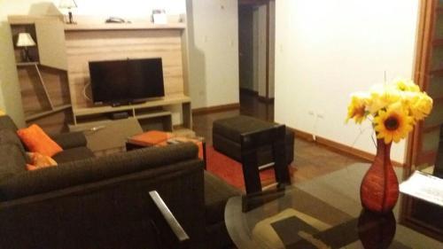 Una televisión o centro de entretenimiento en Tikas House Apartment
