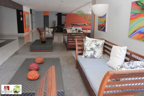 A seating area at Flat 423- Veredas do Rio Quente