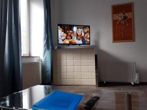 A television and/or entertainment center at modern apartment