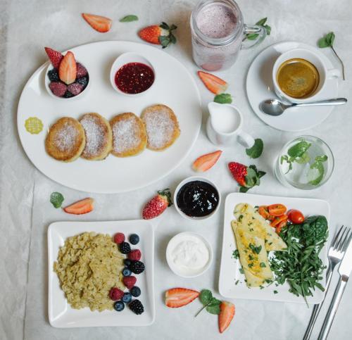 Svečiams siūlomi pusryčių variantai apgyvendinimo įstaigoje Rentida Apartments