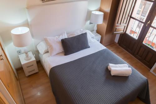 A bed or beds in a room at Apartamentos Elvira 21