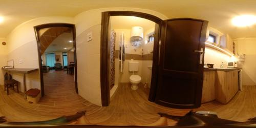 A bathroom at Virág-Apartman