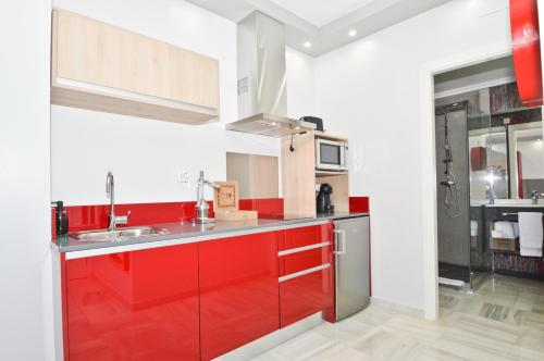 A kitchen or kitchenette at The Zentral Arenal Suites