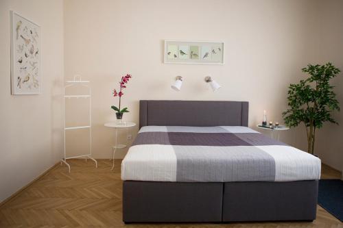 מיטה או מיטות בחדר ב-Synagogue View Apartment