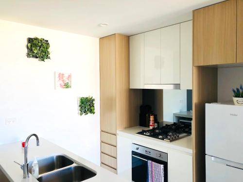 A kitchen or kitchenette at Brand New luxury Apartment near CBD and University