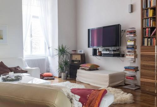 A television and/or entertainment center at Spacious old town luxury apartment