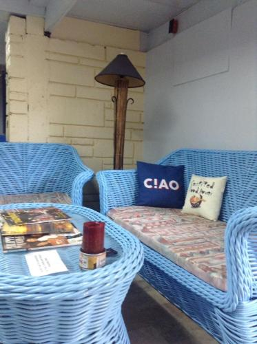 A seating area at Happy Planet Hostel