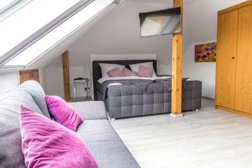 Postel nebo postele na pokoji v ubytování Ferienwohnung Konrad Duden