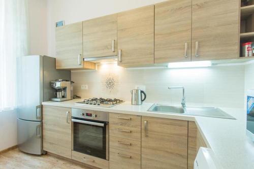 Kuchyň nebo kuchyňský kout v ubytování Двухкомнатный апартамент Ондрейска