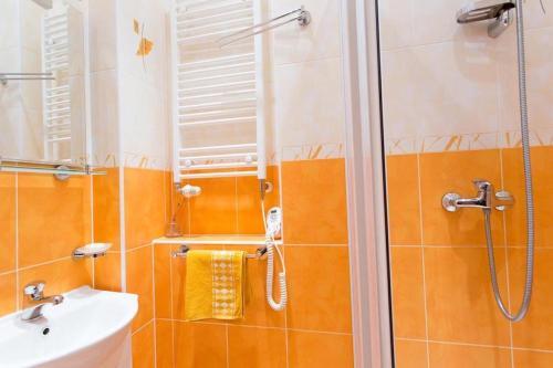 Koupelna v ubytování Двухкомнатный апартамент Ондрейска