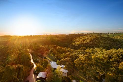 A bird's-eye view of Stonehill Retreat in the Yarra Valley