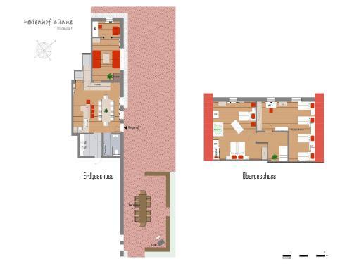 Grundriss der Unterkunft Ferienhof Bünne