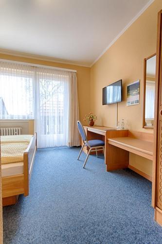 Televizorius ir (arba) pramogų centras apgyvendinimo įstaigoje Hotel Papp-Mühle