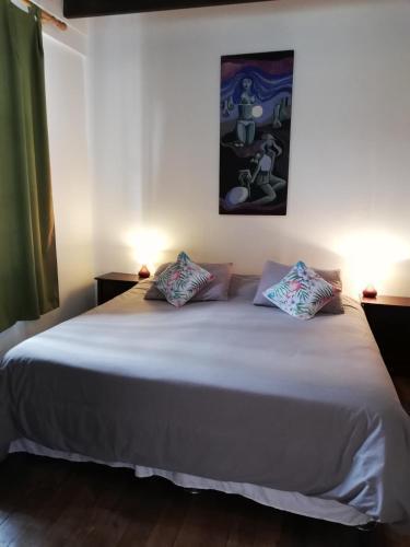 Cama o camas de una habitación en Hostal Casona de Chorrillos