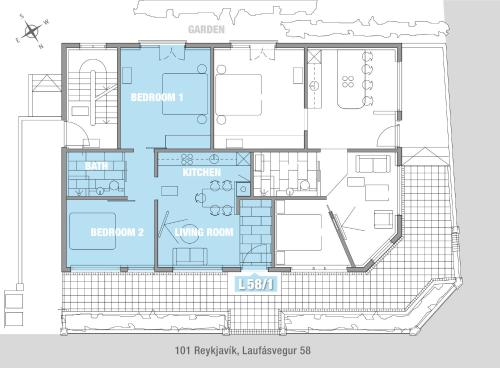 The floor plan of Luxury Apartment Central Reykjavík