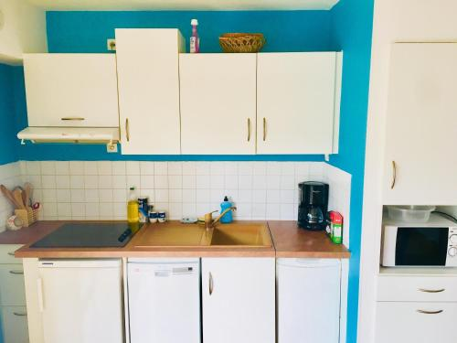 A kitchen or kitchenette at Appartement Carnac plage 190 Avenue des Druides