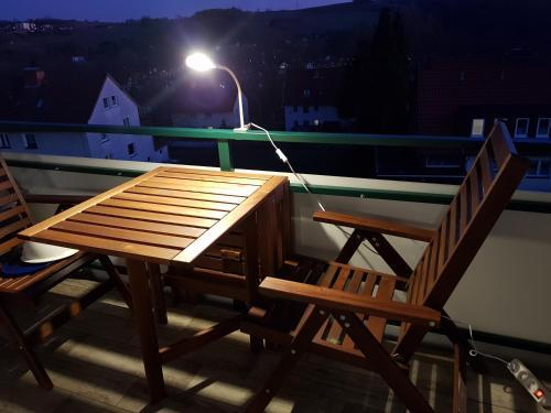 "A balcony or terrace at Ferienwohnung ""HAGEBUTZE"""
