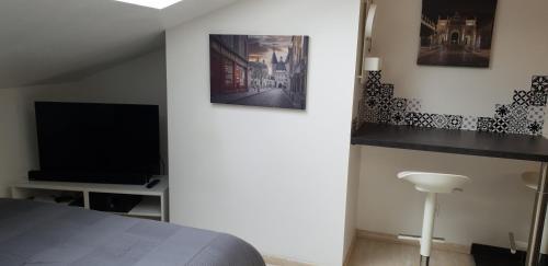 A television and/or entertainment center at joli studio calme coeur de ville