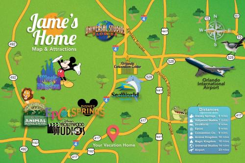 The floor plan of C - New 4 Bedroom Home - 5 Miles to Disney - Free Water Park - Private Pool