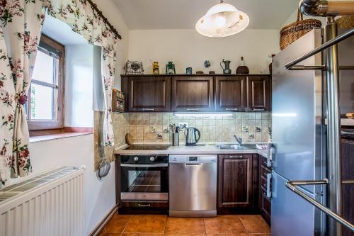 Kuchyň nebo kuchyňský kout v ubytování Villa Lypche