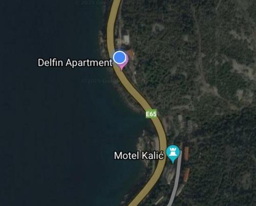 Uma vista aérea de Delfin Apartments