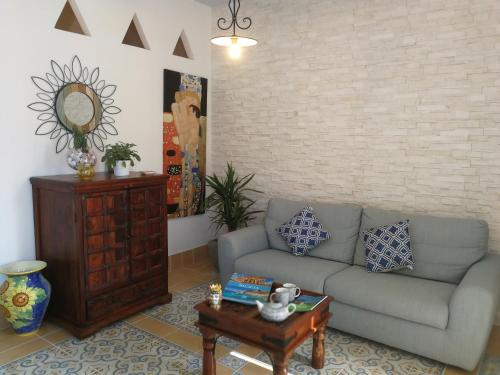 A seating area at Marinella Selinunte's home