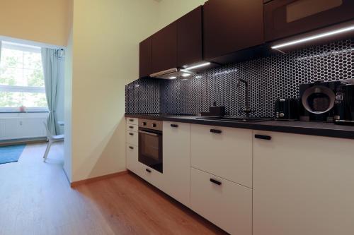 Kuchyň nebo kuchyňský kout v ubytování Avantgarde apartments