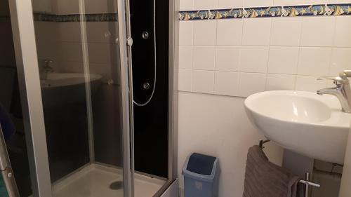 A bathroom at Duplex Avec Vue Sur Mer A Jullouville