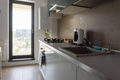 A kitchen or kitchenette at Comfy modern studio in 21 Residence - Politehnica