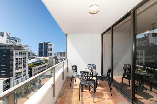 A balcony or terrace at The Astor Apartments