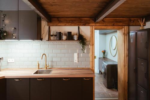 A kitchen or kitchenette at LoftBrücke, Apartment am Platz der Luftbrücke