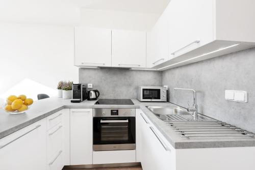 A kitchen or kitchenette at Prague Roof Apartments