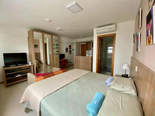 A bed or beds in a room at Flat no centro, Saint Moritz