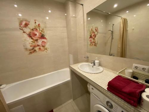 A bathroom at Аpartments in the center of Svetlogorsk-2