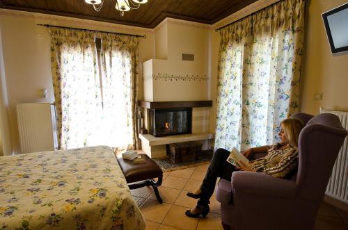 Χώρος καθιστικού στο Ξενώνας Ναϊάδες
