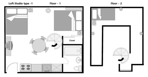 The floor plan of Midtown Apartment