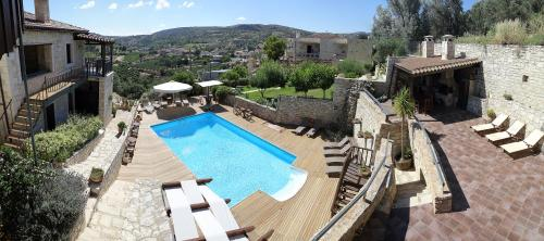 A view of the pool at Asion Lithos or nearby