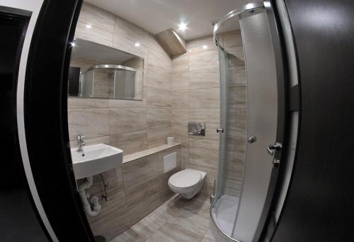 Koupelna v ubytování Apartmány Šariš