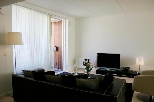 A television and/or entertainment center at Thorshavnsgade Apartment