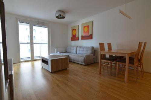 A seating area at Donau-City Strasse 12 Apartment.