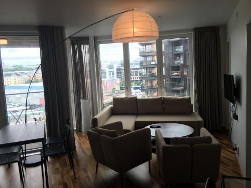 The lounge or bar area at modern 1 bedroom with balcony and view