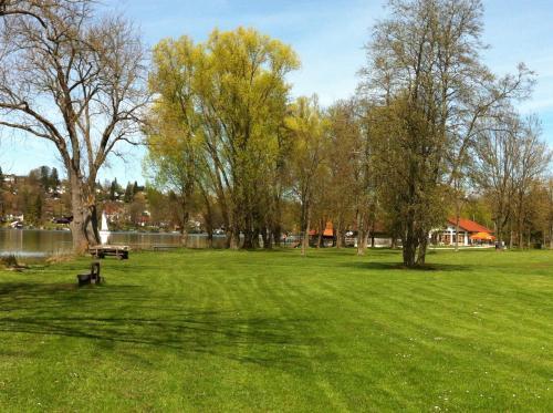 Ein Garten an der Unterkunft Chalet am Pilsensee