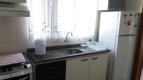A kitchen or kitchenette at Apartamento Edificio Ilhas do Sol