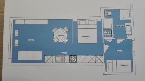 De plattegrond van Studio Beach-la-Mar