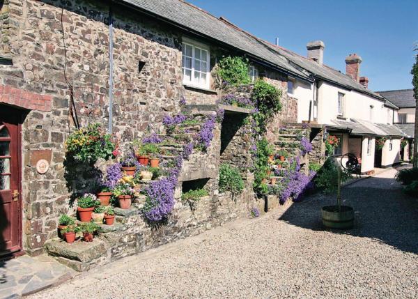 Millstones in Parkham, Devon, England