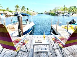 Tiny house on the water with dock